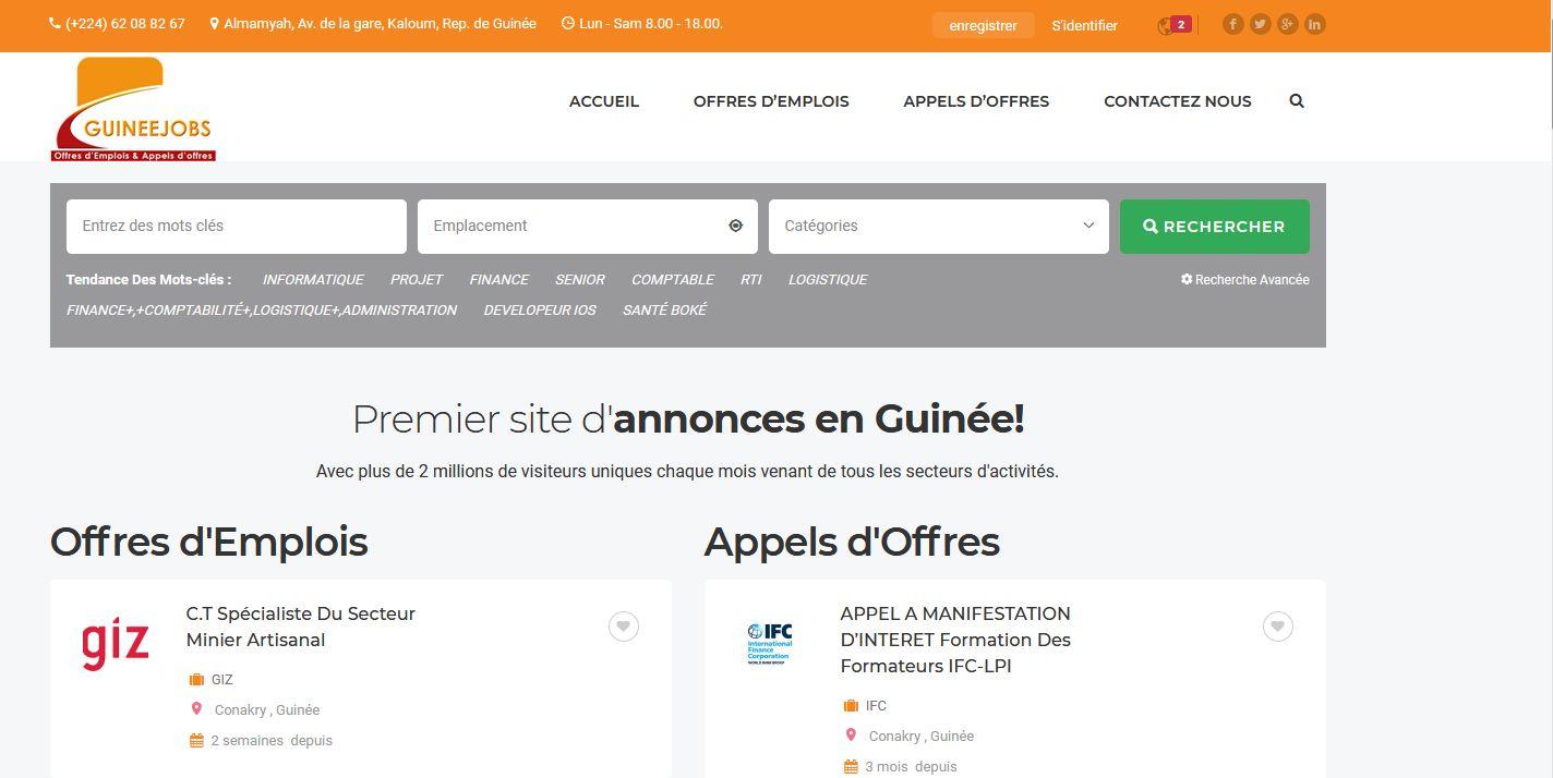 Conception du Site Web GUINEEJOBS.COM